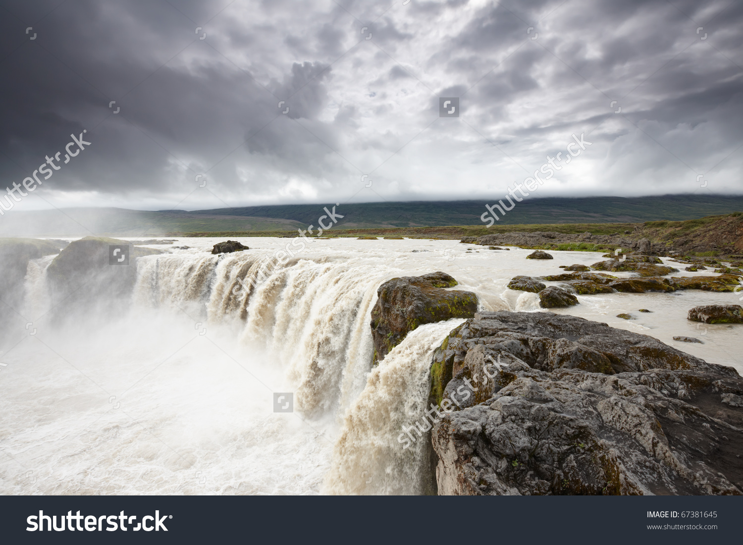 Amazing Powerful Godafoss Falls, One Of The Most Popular Landmarks.