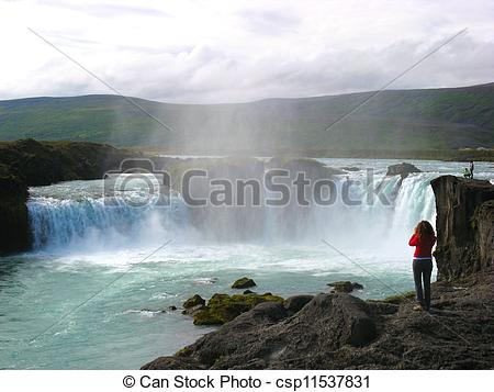 Stock Photos of Wide angle shot of the famous Godafoss waterfall.