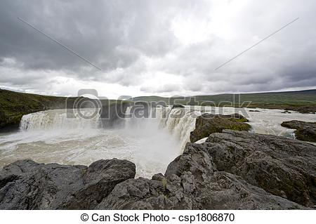 Stock Photography of Godafoss Waterfall.