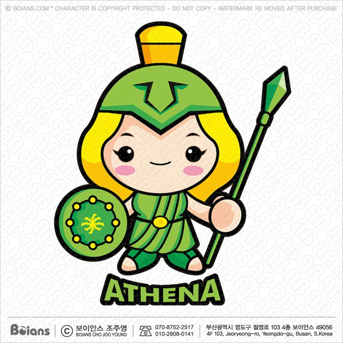 Vector Goddess of war Athena Character. Olympus God Isolated Athene.