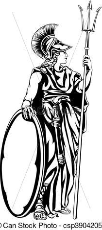 Greek Goddess Athena Warrior.
