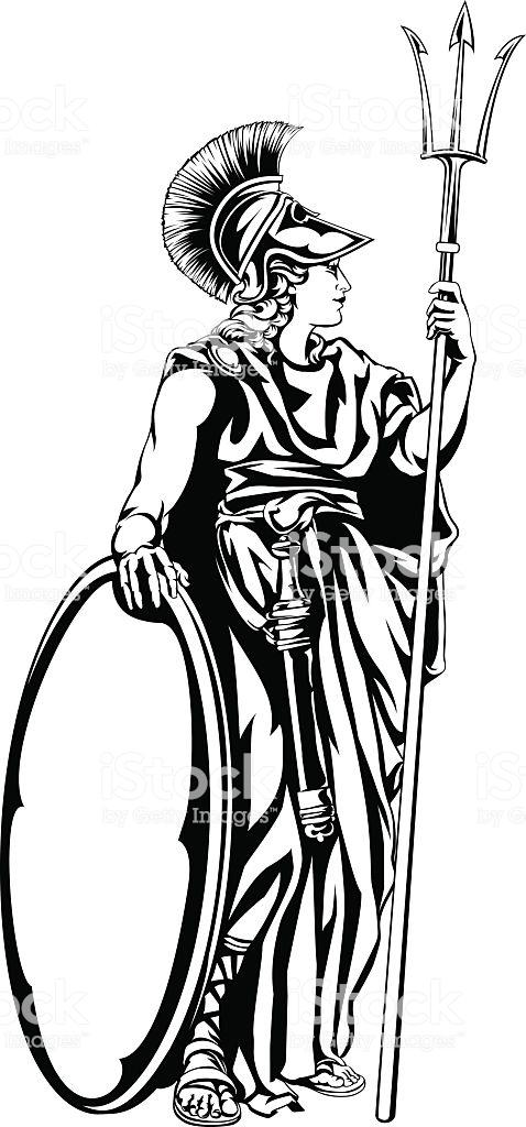 Greek Goddess Athena Warrior Stock Illustration.
