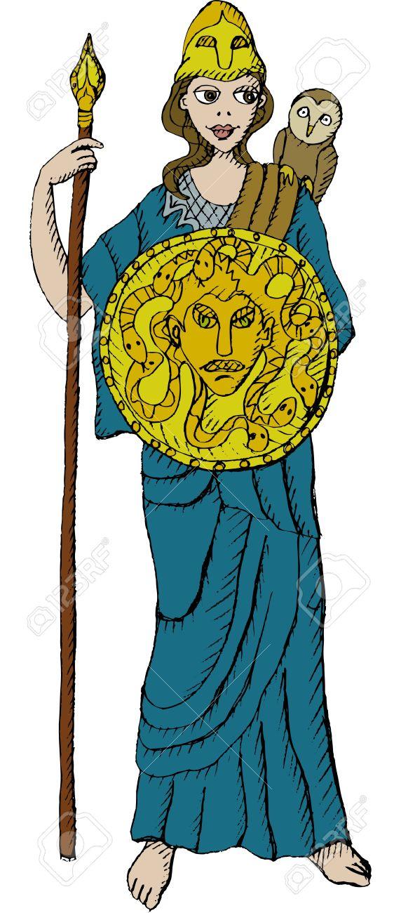 Vector illustration of Greek goddess Athena.