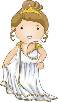 Cartoon of a Little Girl Dressed up Like a Greek Goddess.