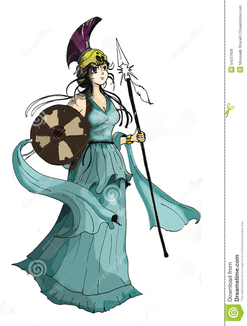 Athena Cartoon Character Stock Illustration.