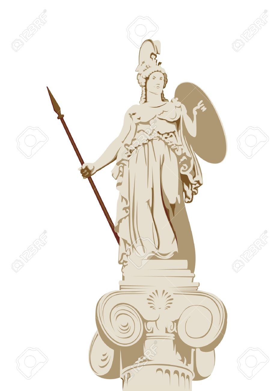 Statue Of The Greek Goddess Of Wisdom Athena Royalty Free Cliparts.