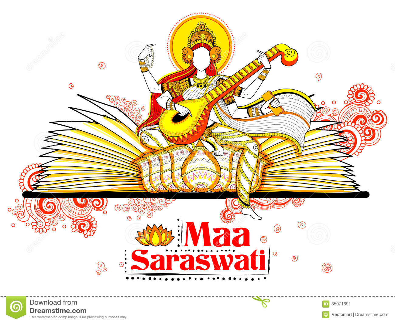 Goddess Of Wisdom Saraswati For Vasant Panchami India Festival.