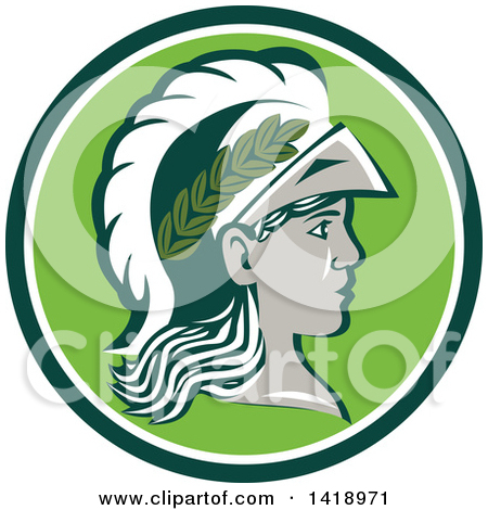 Clipart of a Profile Portrait of the Roman Goddess of Wisdom.