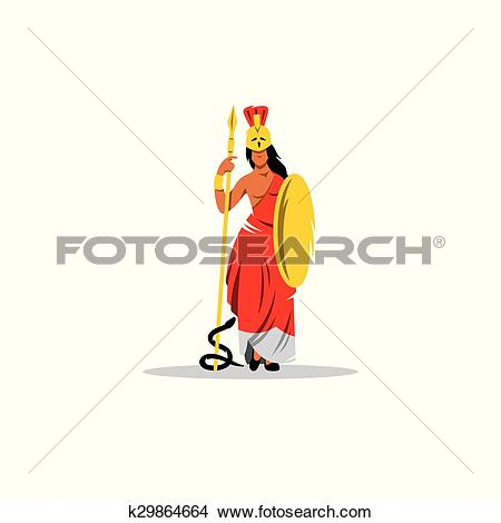 Clipart of Athena sign. Mythological Greek Goddess of wisdom, war.