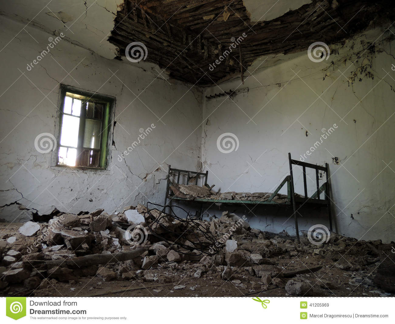 Spooky Rundown Room In Country House Stock Photo.