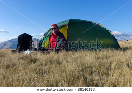 Hiker Tent Hiking Boots Sweden Autumn Stock Photo 86715979.