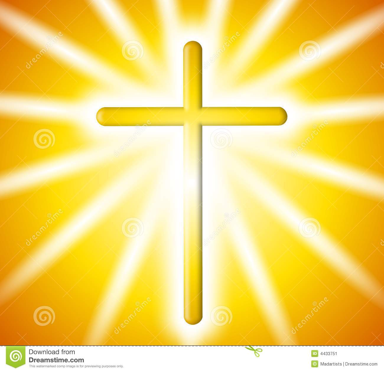 Golden Cross Light Rays Background Stock Image.