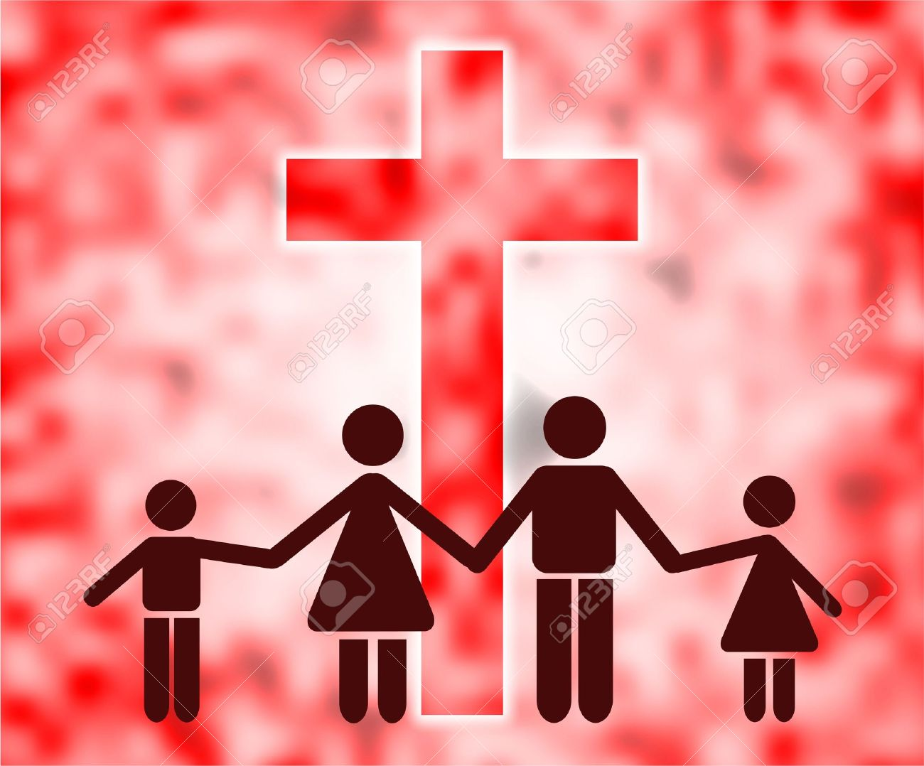 Christian Family Holding Hands And Standing In Front Of A Giant.