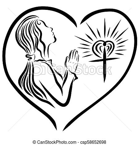 A girl praying to God, and a radiant cross, God's love protects.