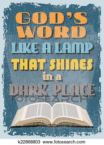 Retro Vintage Motivational Quote Poster. God's Word Like a Lamp Clipart.