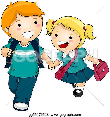 Going To School Stock Illustrations.