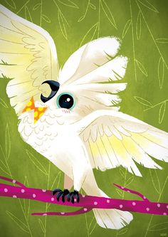A #cute #cartoon #cockatoo #clipart set from Creative Clip Art.