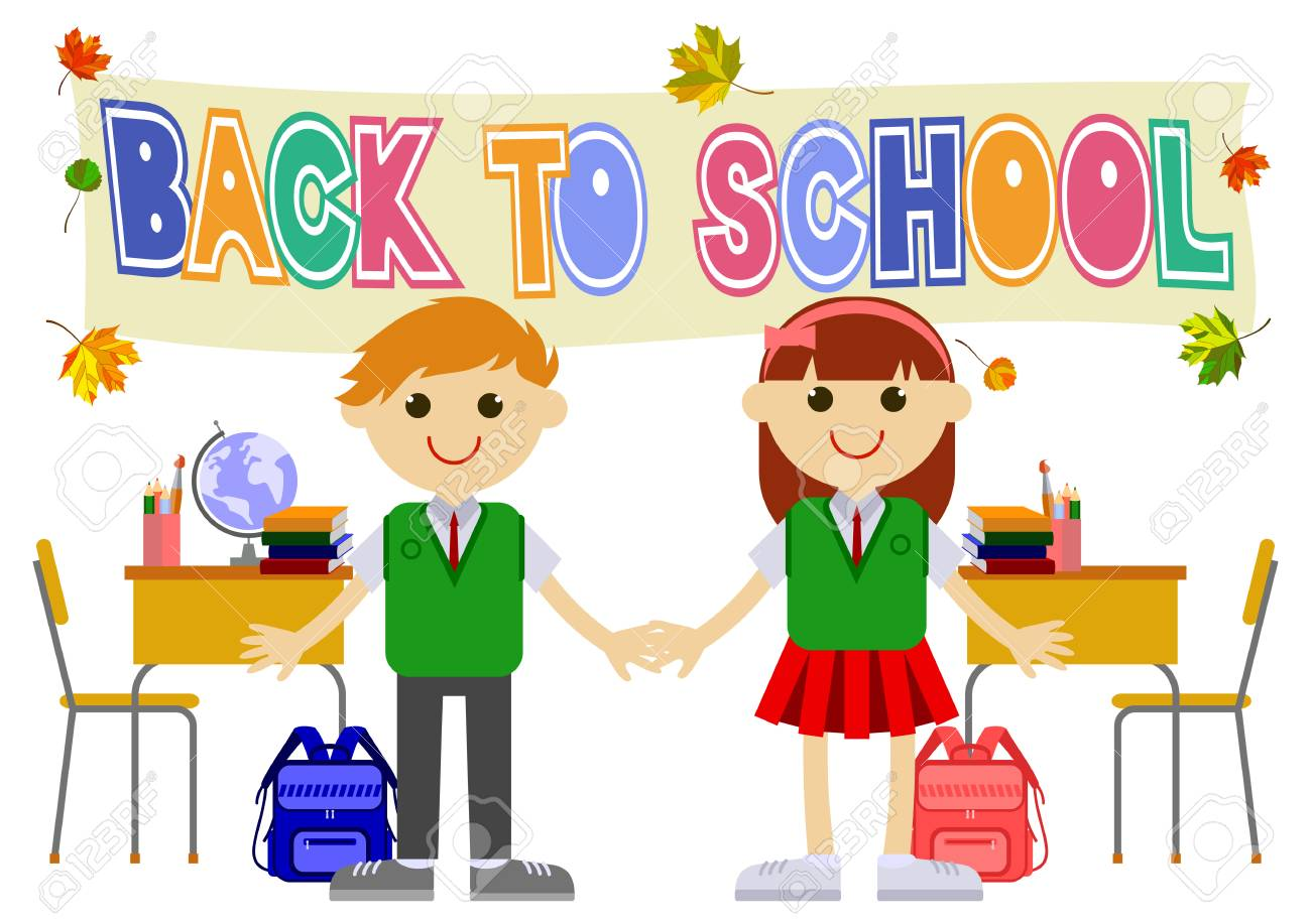 Happy children going back to school after summer holiday. Vector...