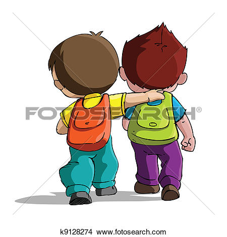 Clip Art of A cute student going home from school k13878228.
