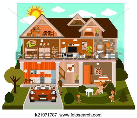Clip Art of Inside the house k21071787.