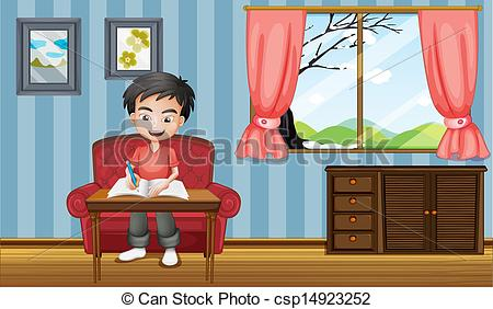 Clipart Vector of A boy writing inside the house.