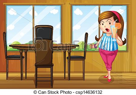 Vector Clipart of A fat girl weighing her weight inside the house.