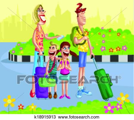Happy family going for vacation Clipart.