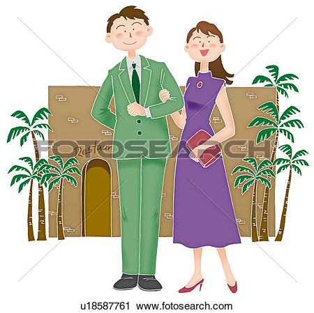 Clipart of Young man and woman going out, Illustration u18587761.