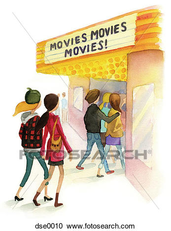 A watercolor illustration of people going to a movie theater Clipart.