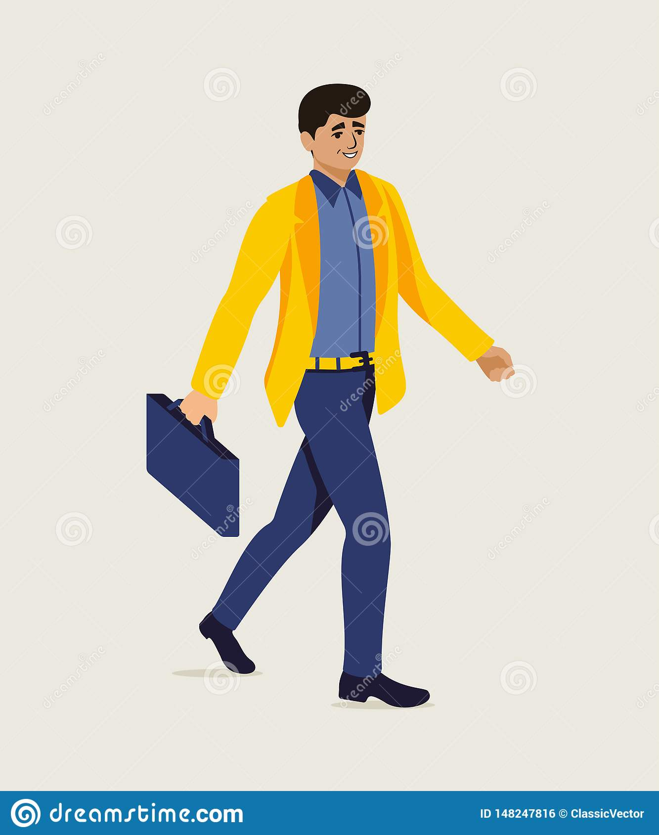 Businessman Hurrying Up To Office Illustration Stock Vector.