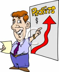 Clipart of a Businessman Showing that Sales & Profits Are Going Up.