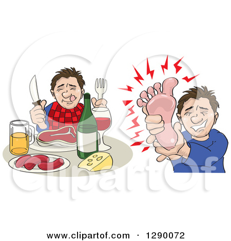 Clipart of a Caucasian Man Shown Eating a Big Meal and Then.