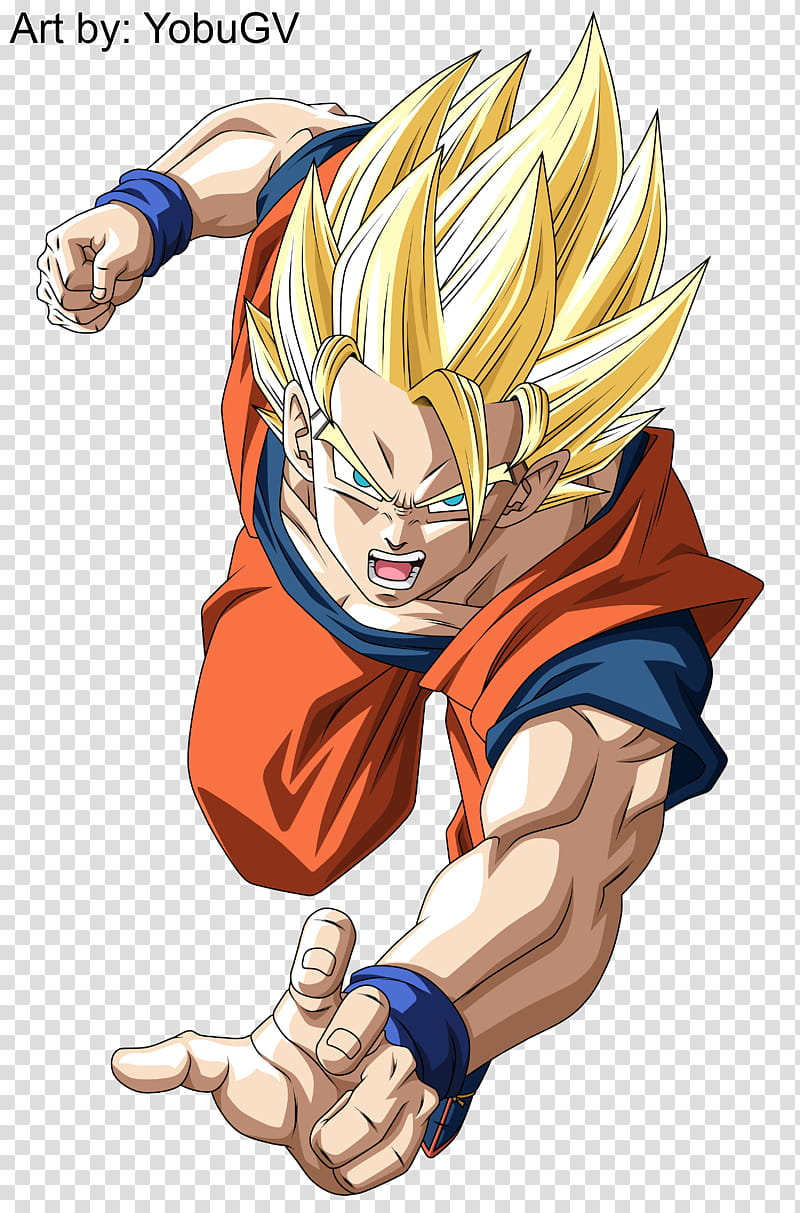 Goku Super Saiyan transparent background PNG clipart.