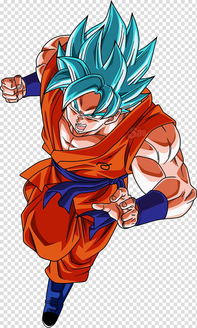 Goku SSJ Blue Kaioken transparent background PNG clipart.