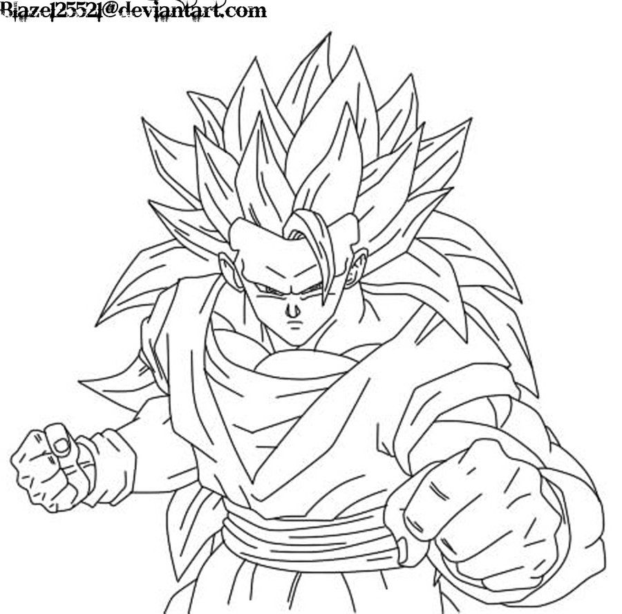 Goku SSJ3 Coloring Pages.