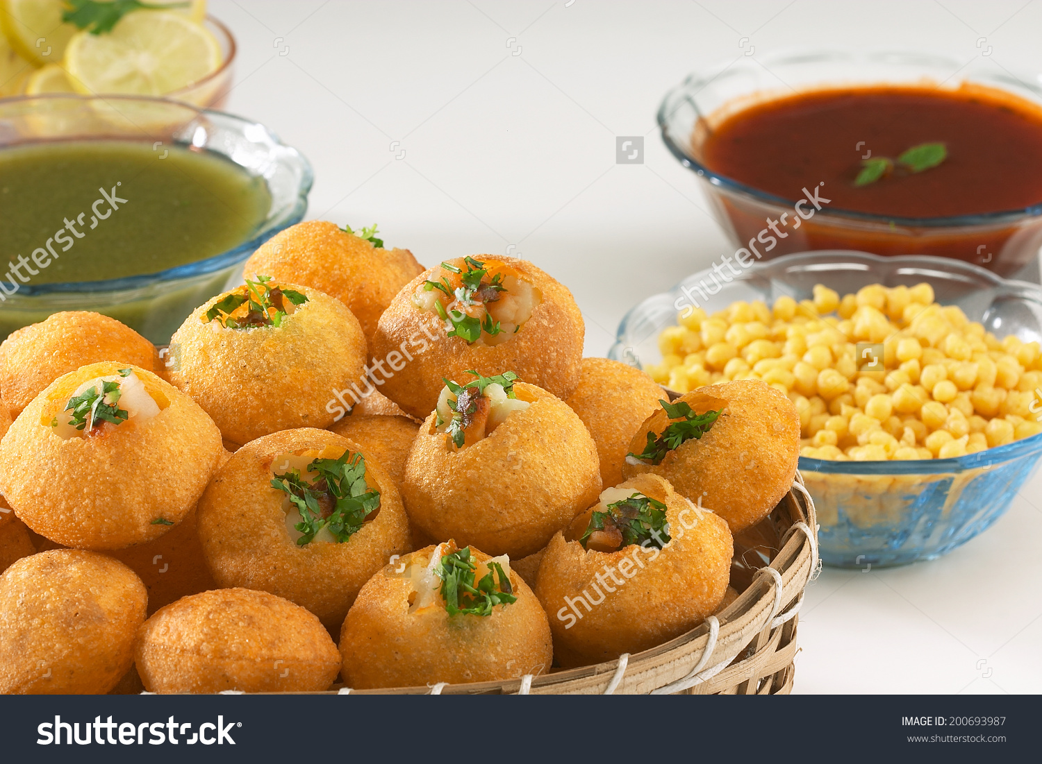 Pani Puri Golgappe Chat Item India Stock Photo 200693987.