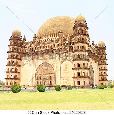 Stock Photo of Gol gumbaz palace and mausoleum bijapur Karnataka.