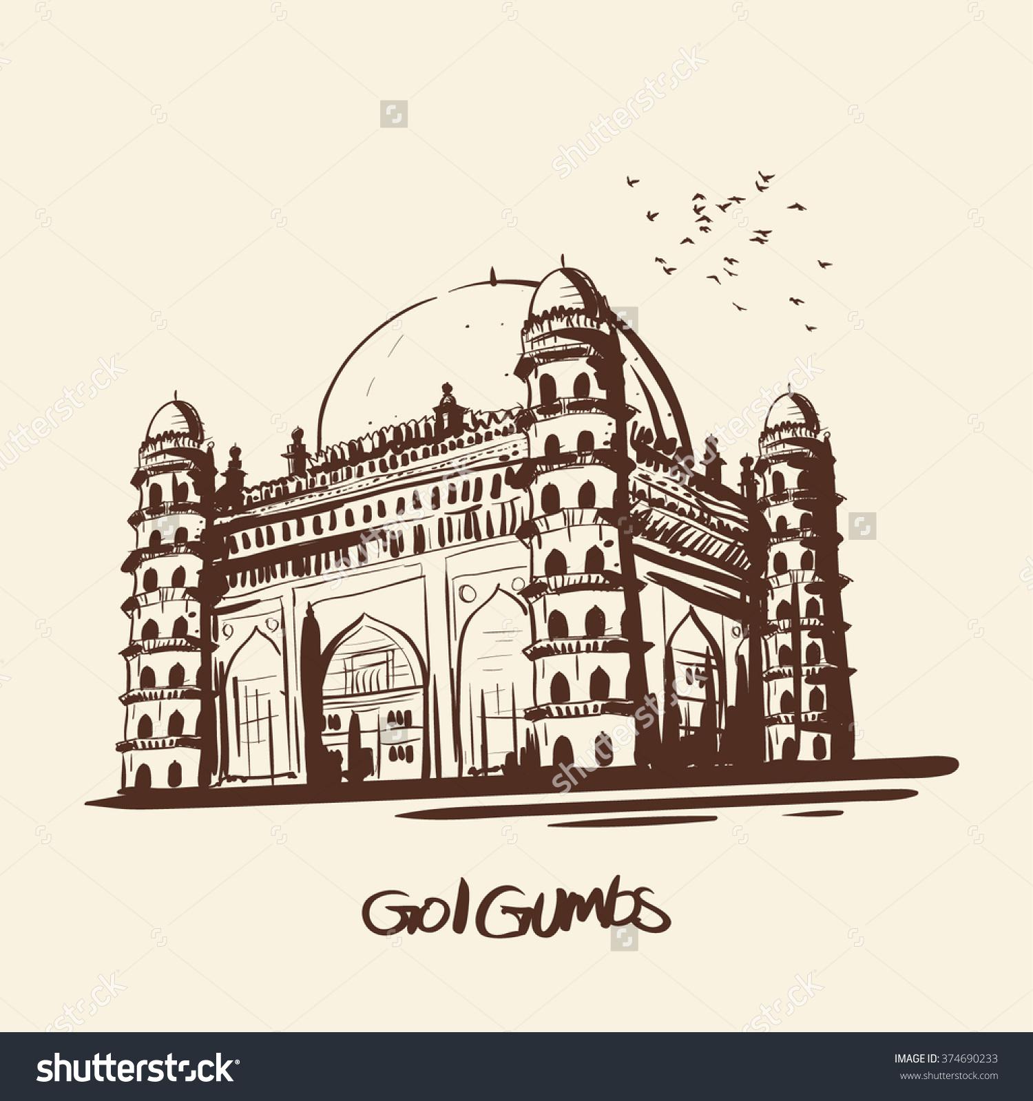Gol Gumbaz Karnataka Stock Vector 374690233.