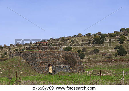 Stock Photograph of Syrian bunker in the Golan Heights, Israel.
