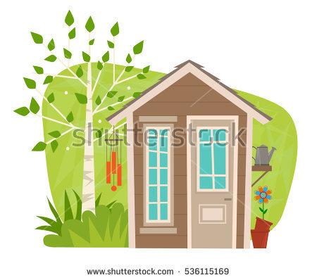 Cute Garden Shed Clipart Small Garden Stock Vector 536115169.