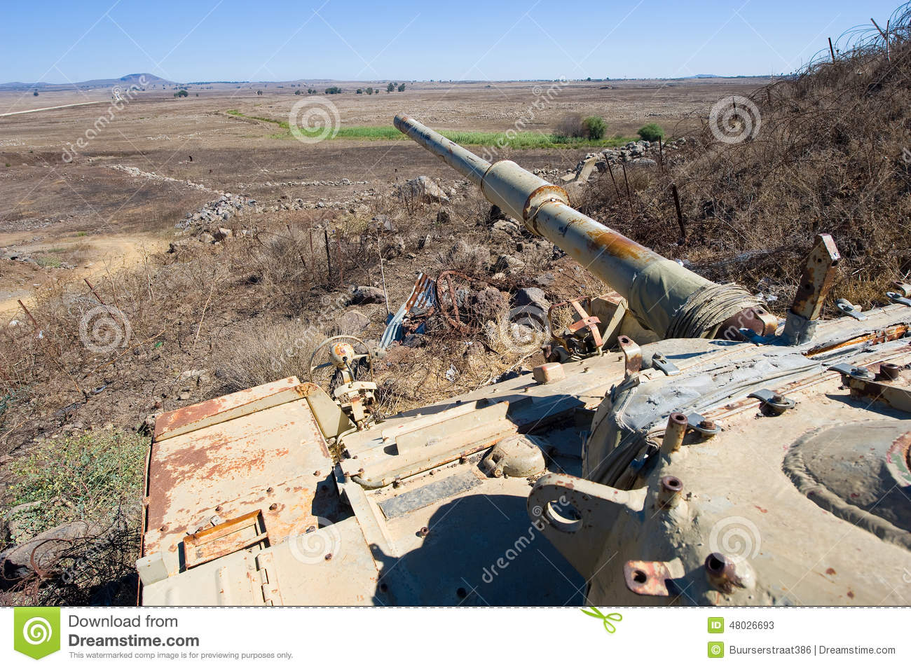 Old Tank At Golan Heights Stock Photo.