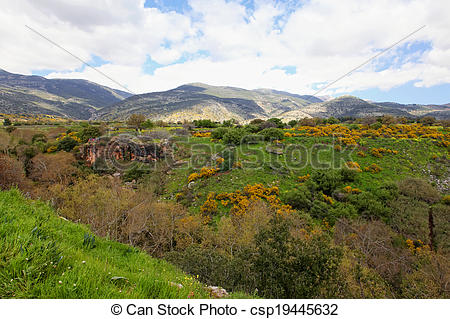 Stock Photos of Wild Landscape With Golan Heights,Israel.