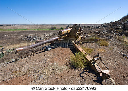 Stock Photographs of Artillery on the Golan Heights.