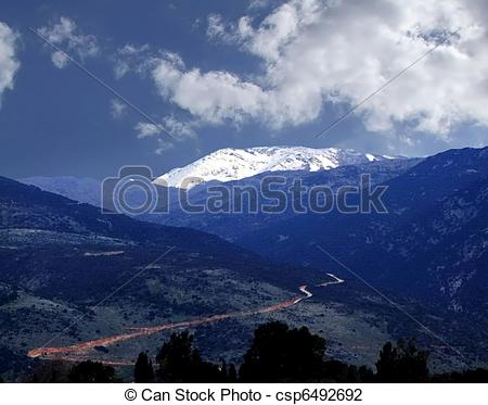Stock Photo of Golan Heights and Mount Hermon. Nothern Israel.