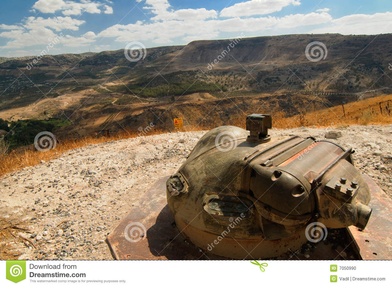 Mine Field, Golan Heights, Israel Stock Photo.