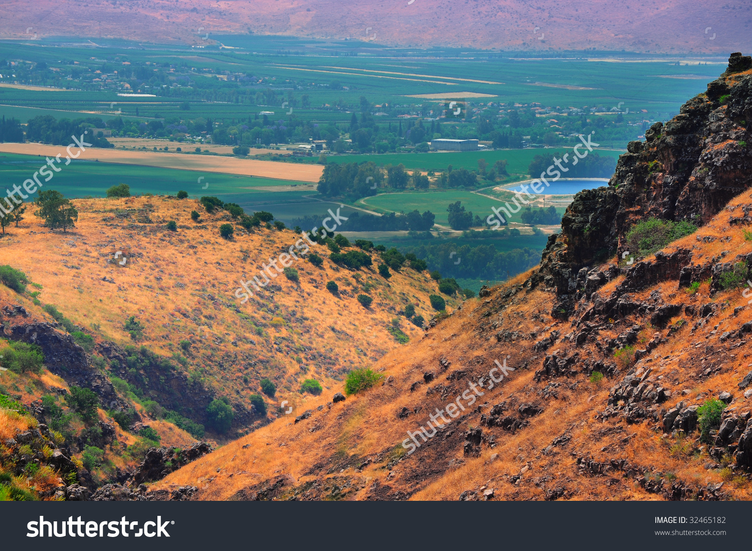 View From Golan Height, Israel, To Jordan Valley Stock Photo.