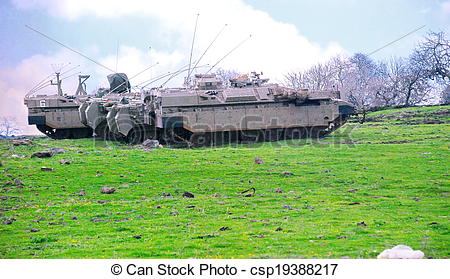 Stock Photography of Israeli Tanks in the Golan Heights.
