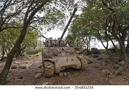 An Old Tank Placed In A Forest At The Golan Heights, Israel. Stock.
