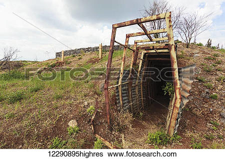 Stock Images of Old Syrian army bunker; Golan Heights, Israel.