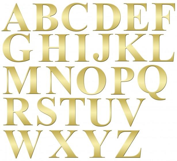 Alphabet Letters Gold Clip.